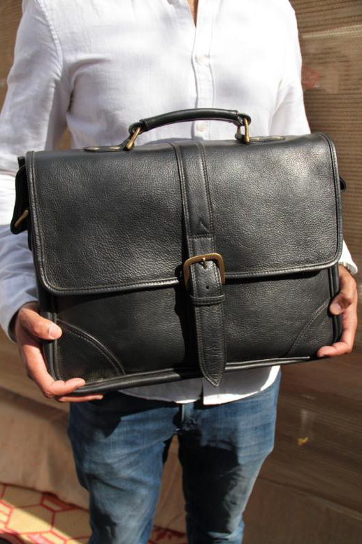 Benny - Cow Leather - Black - Briefcase